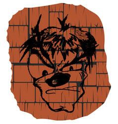 Face graffiti on the wall vector