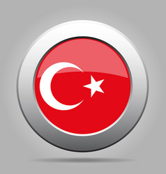 Flag of turkey shiny metal gray round button vector