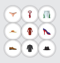 Flat icon clothes set of male footware lingerie vector