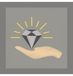 Flat shading style icon Diamond in the hand vector
