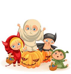 funny children in halloween dresses vector image