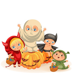 Funny children in haloween dresses vector