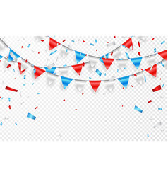 garlands red white blue flags blue white and vector image