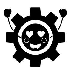Gear heart eyes kawaii icon ima vector