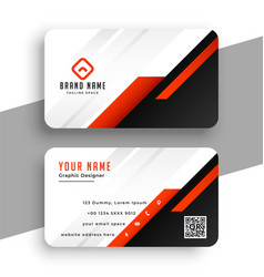 Geometric red business card template professional vector