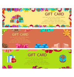 Gift card colourful poster with frames and boxes vector