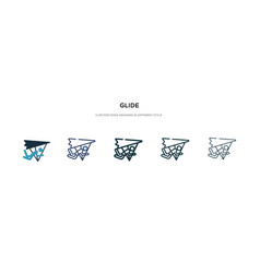 glide icon in different style two colored vector image