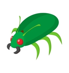 Green bug icon cartoon style vector