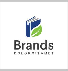 green leaf book logo design icon education logo vector image