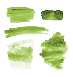Green watercolor shapes splotches stains paint vector