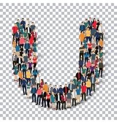 Group people shape letter U Transparency vector