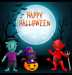 halloween background cute little kids with costum vector image
