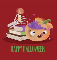halloween books hand drawn cartoon vector image