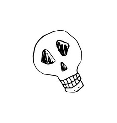 Halloween doodle skull element isolated vector