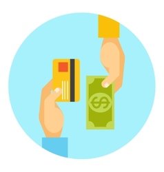 Hands exchanging payment or money in business vector image