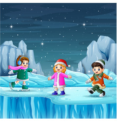Happy kids playing in winter vector