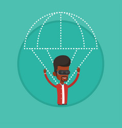 Happy man in vr headset flying with parachute vector