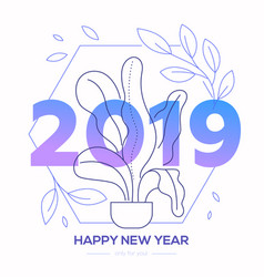 happy new year - modern line design style vector image