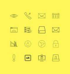 Internet technologies linear icon set simple vector