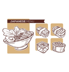 Japanese food hand drawn sketches for your vector
