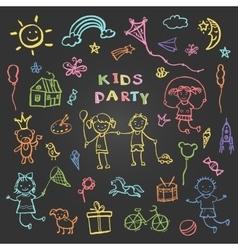 Kids party doodles for design children vector