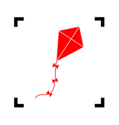 kite sign red icon inside black focus vector image