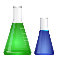 Laboratory flask with narrow neck blue green vector