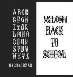latin alphabet chalk - badge back to school trend vector image