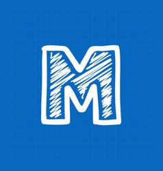Letter m logo on blueprint paper background vector