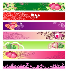love hearts website banners vector image
