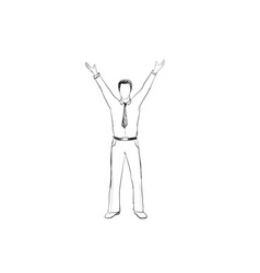 man with hands up hans drawn businessman over vector image