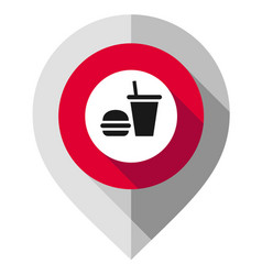 map pin food symbol gps pointer folded from gray vector image