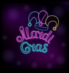 Mardi gras neon text jester hat new orleans vector