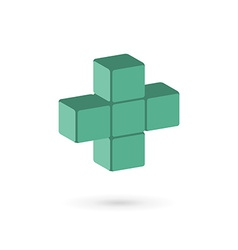 Medical cube logo icon design template with cross vector