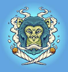 Monkey weed smoking cigarette vector