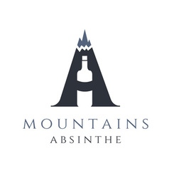 Mountain absinthe concept with bottle in letter vector