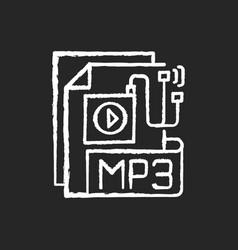 mp3 audio file chalk white icon on black vector image