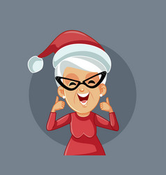Mrs claus holding thumbs up celebrating christmas vector
