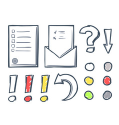 office paper and dots with marks icons set vector image
