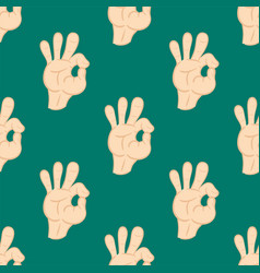 ok hands success gesture okey yes agreement signal vector image