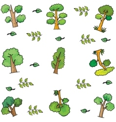 Ornament tree set of doodle vector