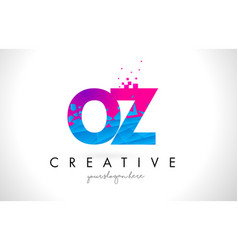 oz o z letter logo with shattered broken blue vector image