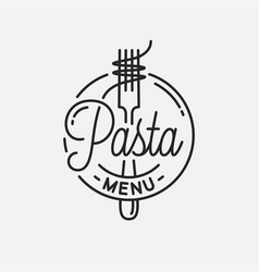 pasta menu logo round linear spaghetti with vector image