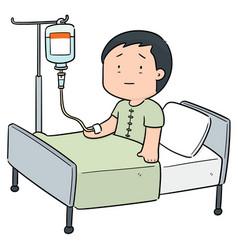 Patient using infusion medicine vector