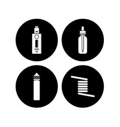 Personal vaporizer e-cigarette icon sign set vector