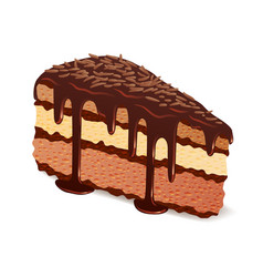Piece of chocolate cake with glaze and topping vector