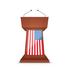 podium tribune with microphone and flag usa vector image