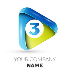 Realistic number three logo in colorful triangle vector