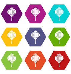 red chinese lantern icon set color hexahedron vector image