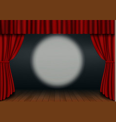 Red open curtain with wood floor circus spotlight vector